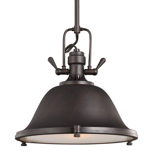 Bellacor - $198 Stone Street Burnt Sienna One Light Pendant With Satin Etched Glass Diffuser Seagull Dome