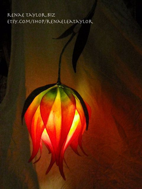 Red and Yellow Lily Luminaire Lamp By Renae by renaeleataylor, $175.00