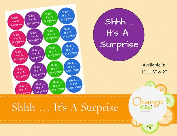 Shhh ... It's A Surprise  Baby Shower Stickers by OrangeKiwiDesign