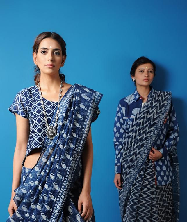 Buy Color Rhymes Curated by Jaypore Natural Dyed, Dabu-printed Kota Doria Cotton Sarees and Dupattas Online at Jaypore.com