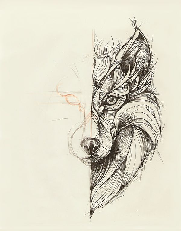 Geometric Wolf by Marta Adán | Sketch Box