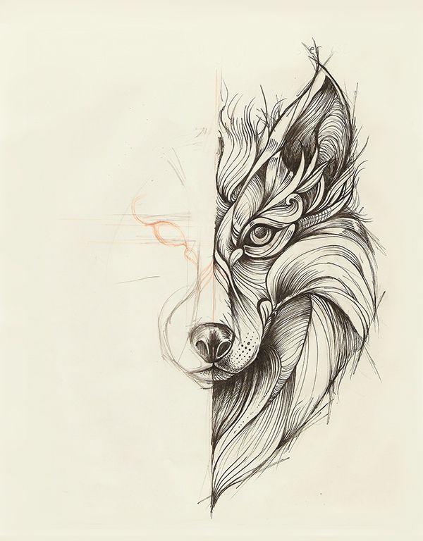 Geometric Wolf by Marta Adán | Sketch Box