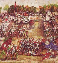 Sveitsiläiset palkkasoturit kohtaavat ranskalaiset Marignanon taistelussa vuonna 1515.  Sveitsiläiset palkkasoturit taistelivat palkkasoturijalkaväkenä useiden Euroopan valtioiden palveluksessa 1400-luvulta 1800-luvulle. Sveitsiläisten kansanarmeijan hyvä maine syntyi 1400-luvulla käyttämällä gewalthaufenia ensiksi Ranskaa vastaan St. Jakob an der Birsin taistelussa 1444 ja kasvoi Burgundia vastaan Grandsonin ja Moratin taisteluissa 1476, sekä Nancyn taistelu Sodankäynnin historia –…