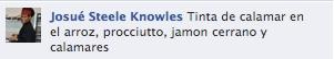 Josué Steele Knowles nos pidió en Facebook: Tinta de calamar en el arroz, procciutto, jamon cerrano y calamares
