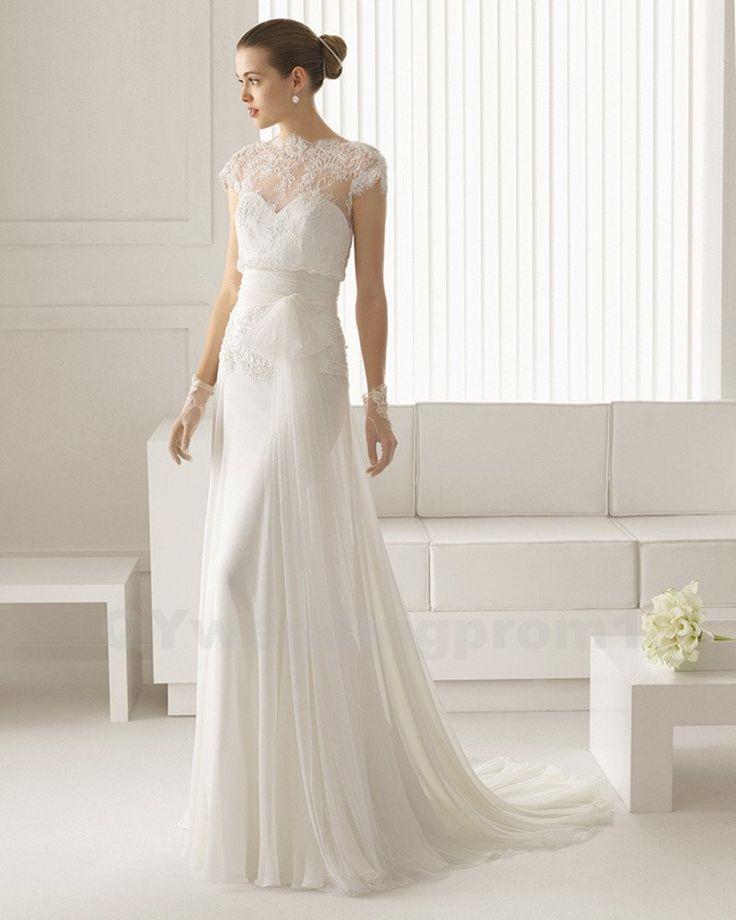 Lovely Chiffon Wedding Dress Long White Lace Wedding Dress