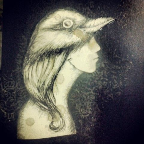 Bird Woman , drawing & papercut  2013