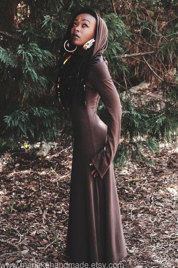 Maxi Length Hood Dress - Made to order - Fairy Pixie hooded dress - Burning Man Festival dress