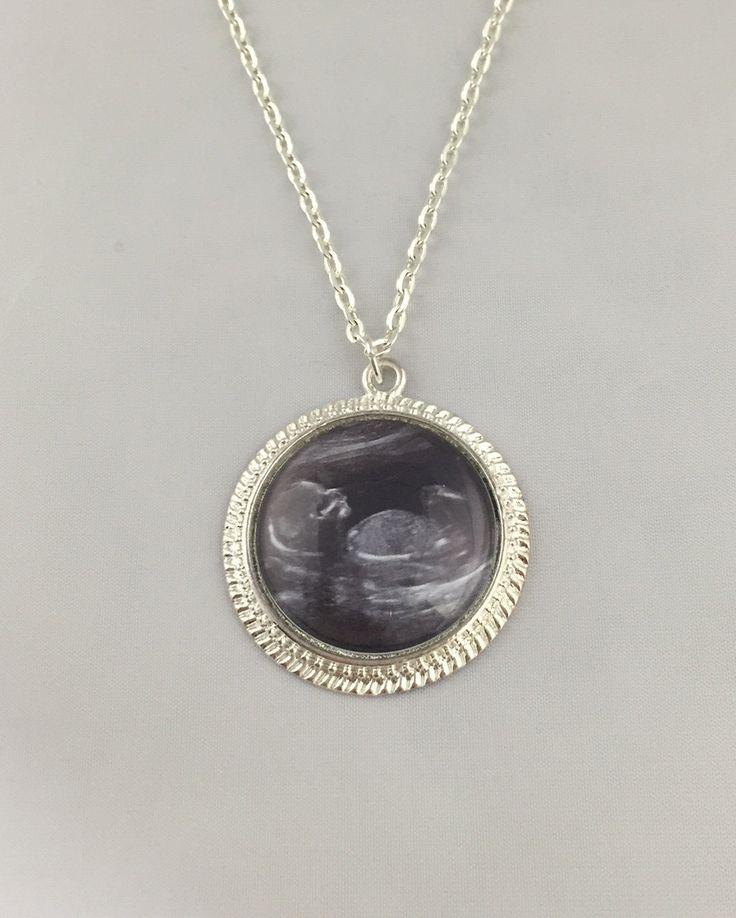 Baby Sonogram Necklace - Baby Sonogram Key Chain - Your Baby's Sonogram - Shiny Silver Finish by ChutneyBlakeDesigns on Etsy