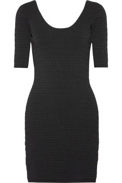 Elizabeth and James - Lydia Textured Stretch-ponte Mini Dress - Black - medium