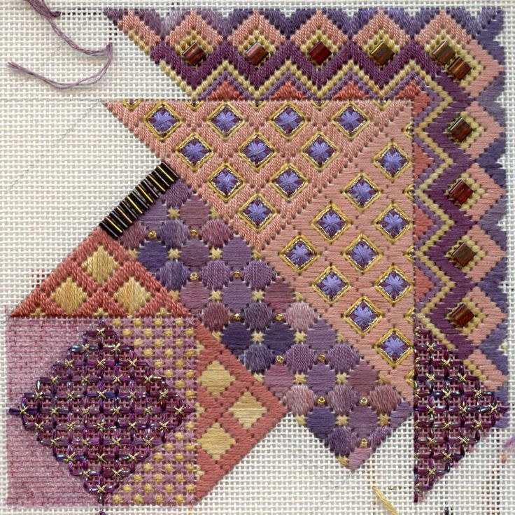 Terry Dryden Needlework Designs - Color Texture Stitch - Baroque Diamonds and some new poppies