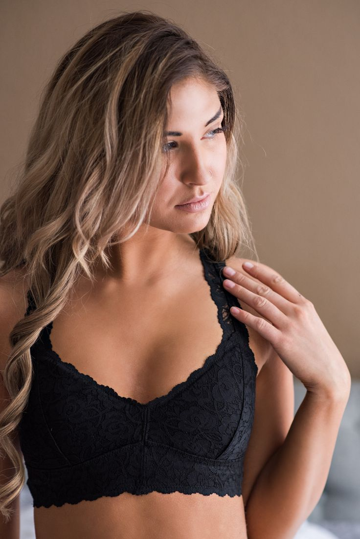 In Your Dreams Sweetheart Lace Racer Back Padded Bralette (Black) http://bellanblue.com