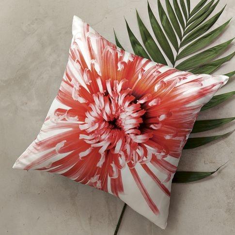 Coral Color Flower Pillow from West Elm. Clinton Friedman Featherbush Pillow Cover