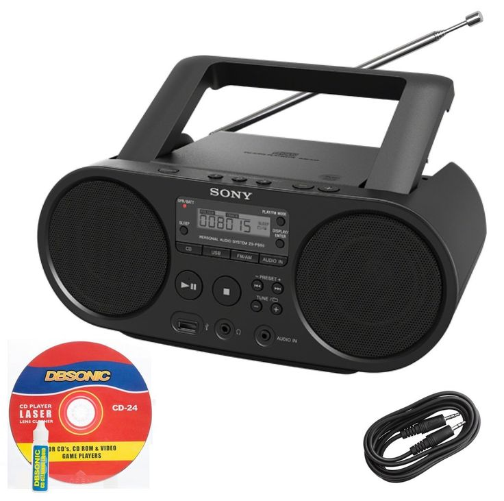 Sony Compact Portable Stereo Sound System Boombox with USB Input, MP3 CD Player, Digital Tuner AM/FM Radio, 30 Programmable Preset Stations, LCD Display, Auto Scan Tuning, Headphone Output & Auxiliary Input Jack to connect any iPod, iPhone, Digital Audio Device or Tape Cassette Player *Bonus DB Sonic AUX Cable & CD Laser Lens Head Cleaner Included*