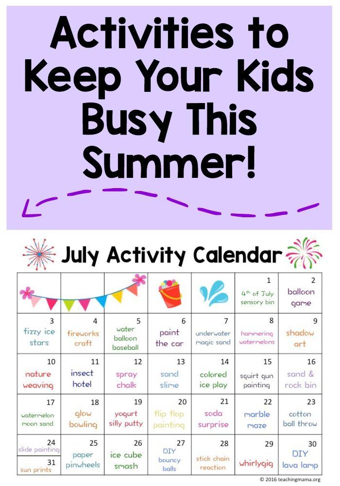 July Activity Calendar - super fun summer activities for kids!