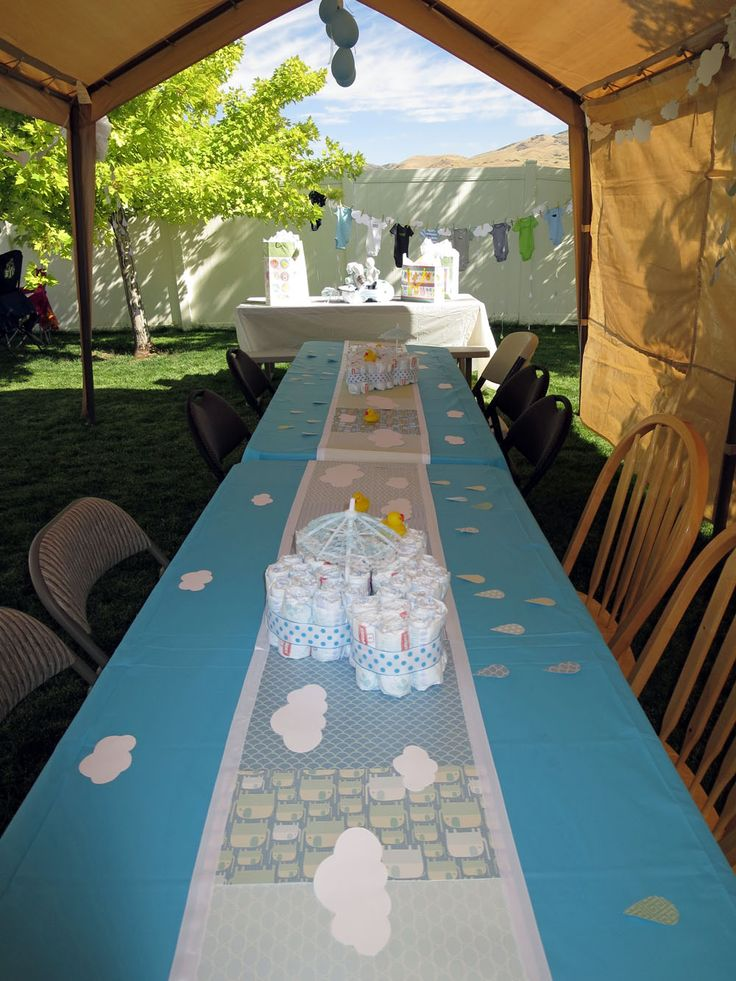 Rainy Day Boy Baby Shower Outdoor Tent Set Up Baby Shower Pinterest Boy Baby Showers