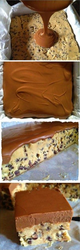 Chocolate Chip Cookie Dough Bars-- no eggs, no bake. I have to stop finding these kind of recipies.