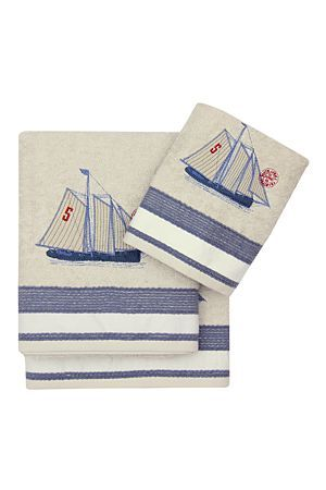 """Why not go for the Coastal look with this beautiful 100% cotton embroidered towel with a stunning vintage ship detail and a pretty border to match.<div class=""""pdpDescContent""""><BR /><BR /><b class=""""pdpDesc"""">Fabric Content:</b><BR />100% Cotton<BR /><BR /><b class=""""pdpDesc"""">Wash Care:</b><BR>Gentle cycle cold wash</div>"""