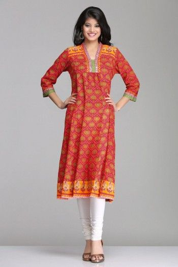 Mughal Inspired Pink & Orange Anarkali Cotton Kurta By Farida Gupta