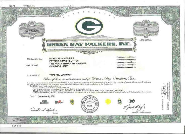2011 Green Bay #Packers Common Stock Stock Certificate Copy In Great Shape! from $24.99