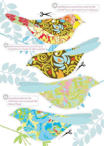 Pretty, free DIY colorful bird cutouts.