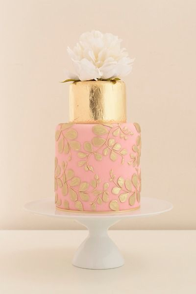 Gold Leaf, Blush Pink Cake