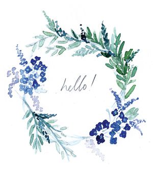 Lucy Bowes Design Greetings Card - Hello Flower Wreath #illustration #design #watercolour