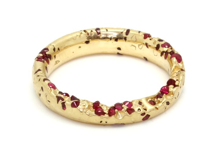New Eroded Crystal Ring with Rubies, 18Y - Polly Wales -