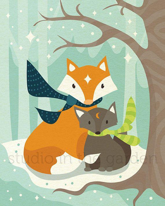 Instant Download Nursery Printable Art - Woodland Nursery Decor - Winter Fox Mom and Baby Wall Art Print - Printable Nursery Room Decor