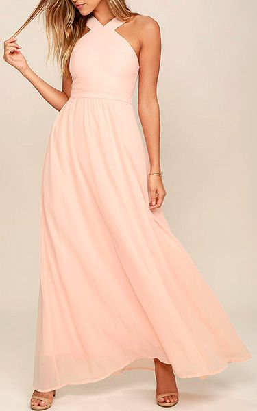 Air Of Romance Peach Maxi Dress via @bestmaxidress