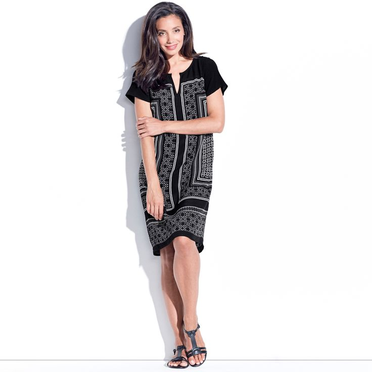 Khloe Shift Dress - Black Multi. This cap sleeve shift dress has front and back yokes and is easy fitting. It features a Moroccan tile inspired scarf print.