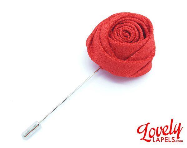 FLOWER LAPEL PIN: Red Silk Rosebud. Custom Mens Handmade   Lapel Pins, Lapel Flower, Lovely Lapels, Boutonniere, Mens Pin