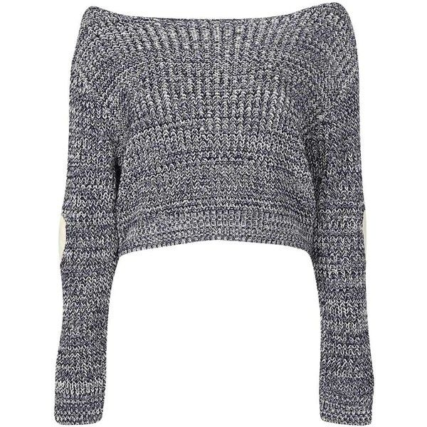 Boohoo Berry Crop Slash Neck Heart Elbow Patch Jumper found on Polyvore