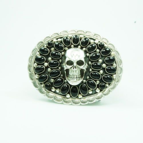 OVAL BLACK ONXY SKULL 925 STERLING SIVER HANDCRAFTED BIKER COWBOY BUCKLE nav-bc1