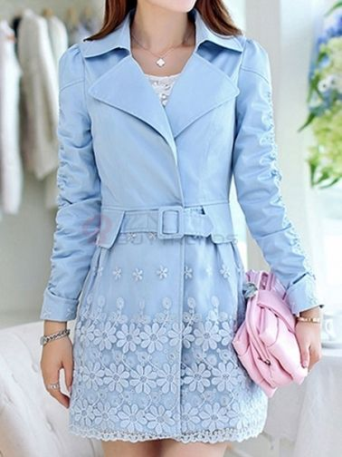 Chic Women Notched Collar Full Sleeve Tie Waist Lace Patchwork  Pure Color Leisure Trench Coats on buytrends.com