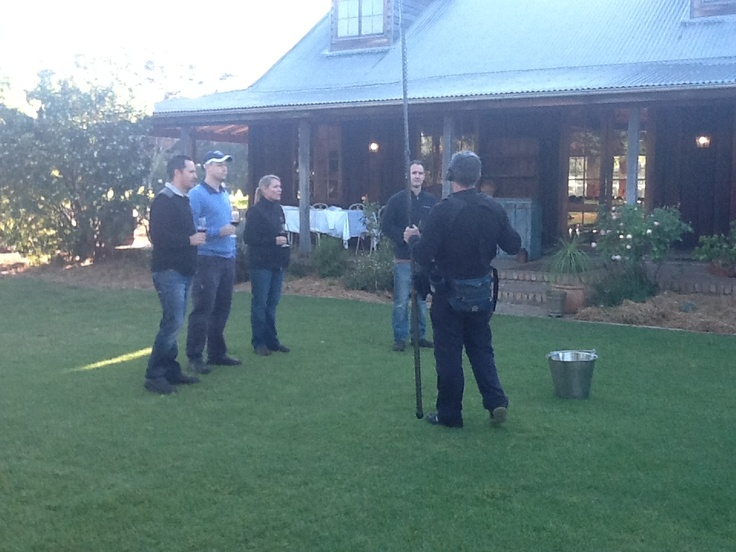 Wine spitting weather cross - the winemakers showing Grant how it's done!