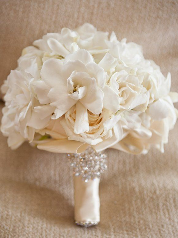 Gorgeous gardenias...love the wrap touch, too. Lovely satin ribbon wrap, accented with a stunning brooch piece.