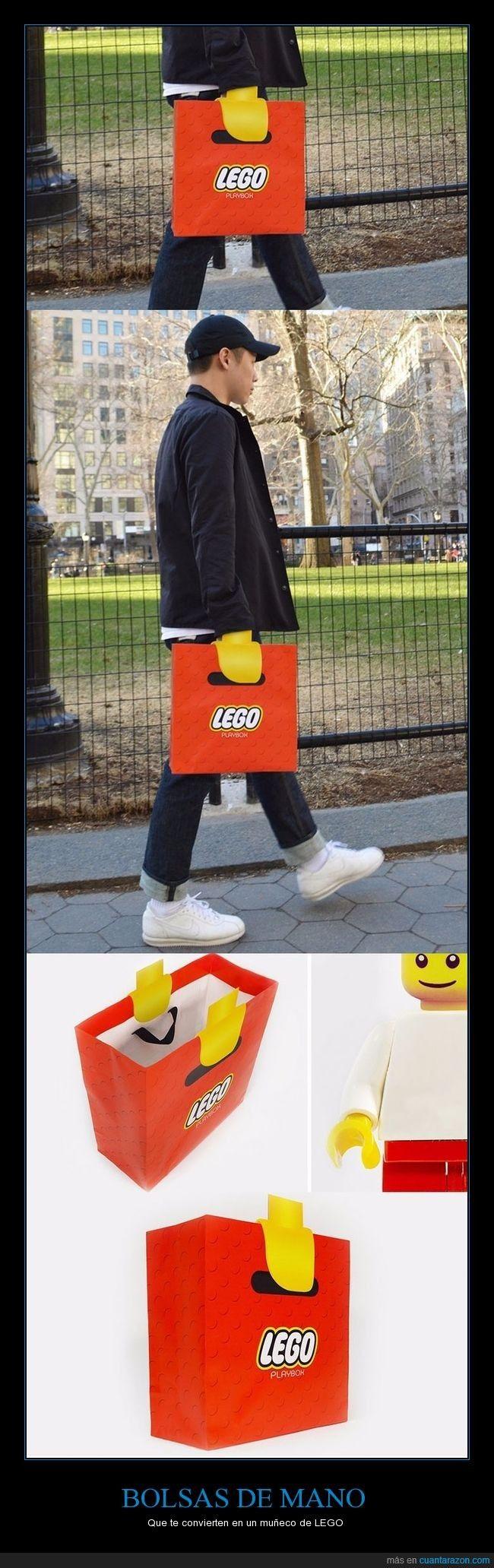 Lego ha creado estas bolsas que te convierten tus manos en manos de muñeco LEGO - Que te convierten en un muñeco de LEGO