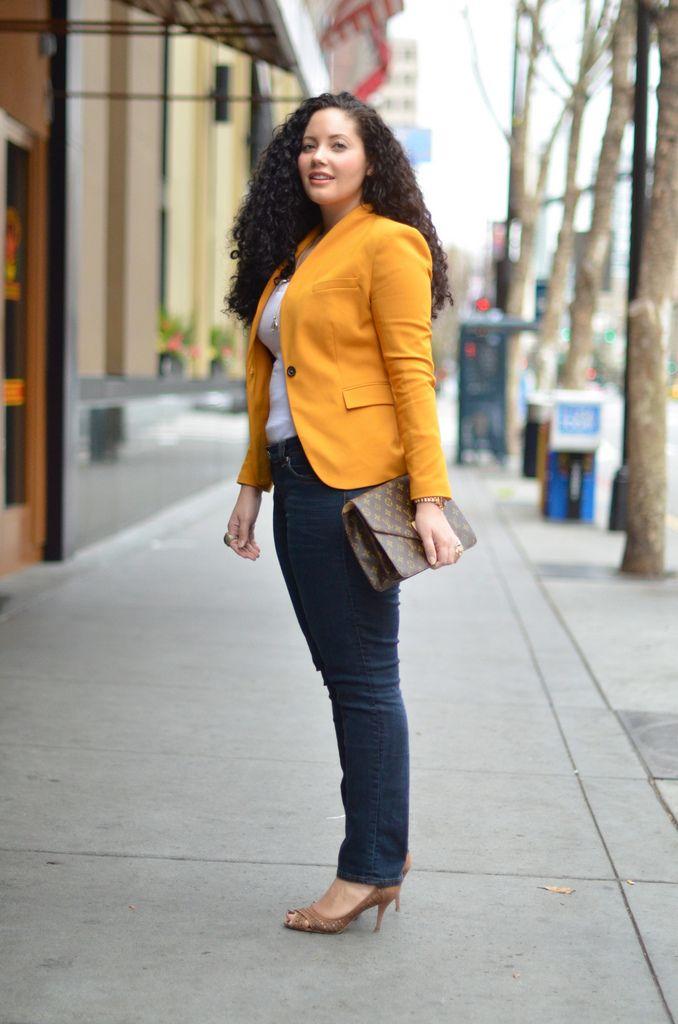 Mustard yellow blazer, denim jeans and white top