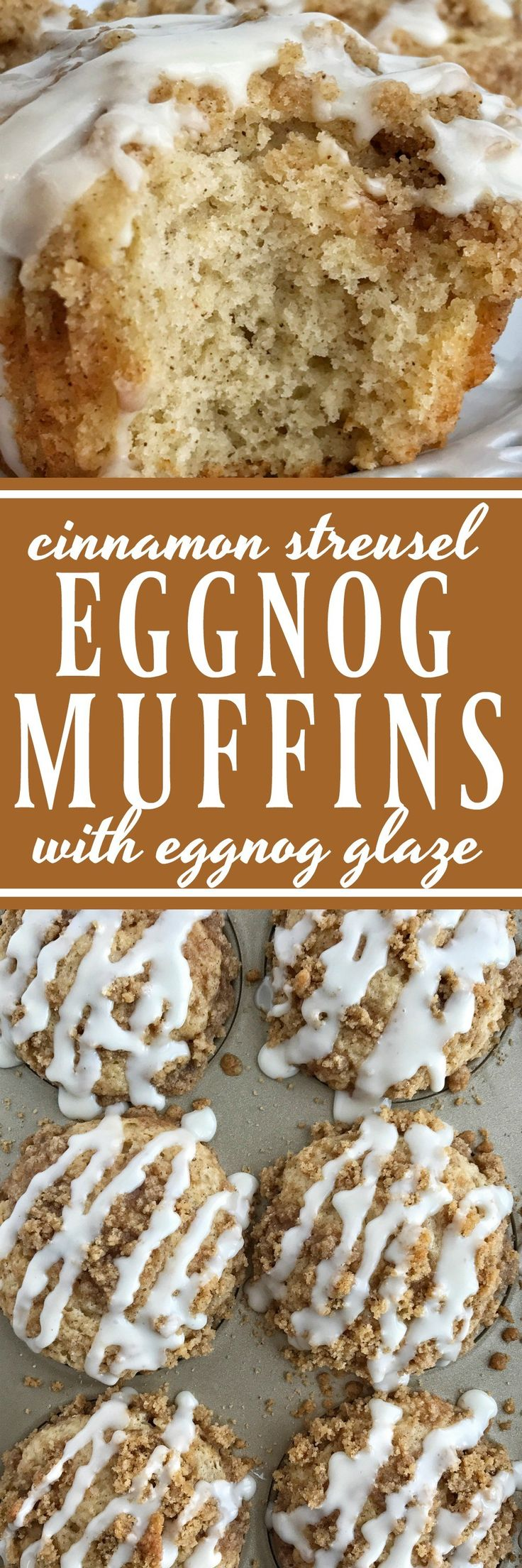 Eggnog Crumb Muffins | Soft, tender eggnog muffins with a sweet & buttery cinnamon streusel on top and a simple eggnog glaze. Make good use of seasonal eggnog and make these eggnog crumb muffins. Sure to be a hit and so delicious!