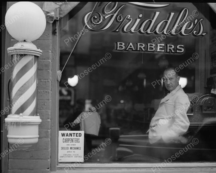 Barber Shop Pole & Window 1900s Vintage 8x10 Reprint Of Old Photo