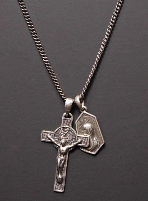 a8a162aa761b Men s silver cross necklace   Cross and Mary medals for Men   Catholic  pendants   catholic jewelry f