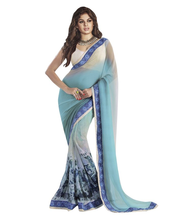 Buy Now Sky Blue Shaded Designer Printed Georgette Festival Wear Saree with Brocade Blouse only at #Lalgulal
