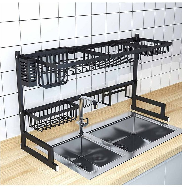 Black stainless steel kitchen rack sink sink dish rack