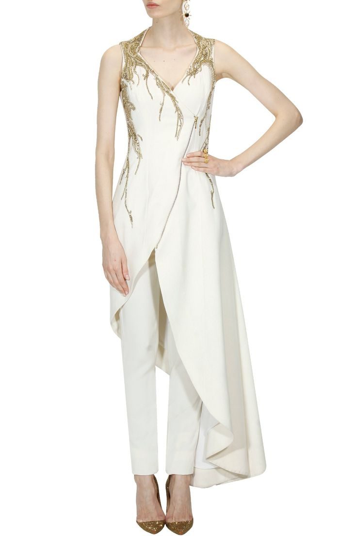 Ivory bugal beads and sequins embellished asymmetric jacket and trouser pants set