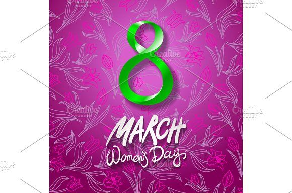 8 March women day, vector. tulip by Rommeo79 on @creativemarket