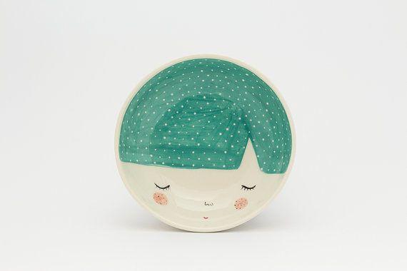Teal ceramic bowl teal serving bowl gift by MarinskiHandmades