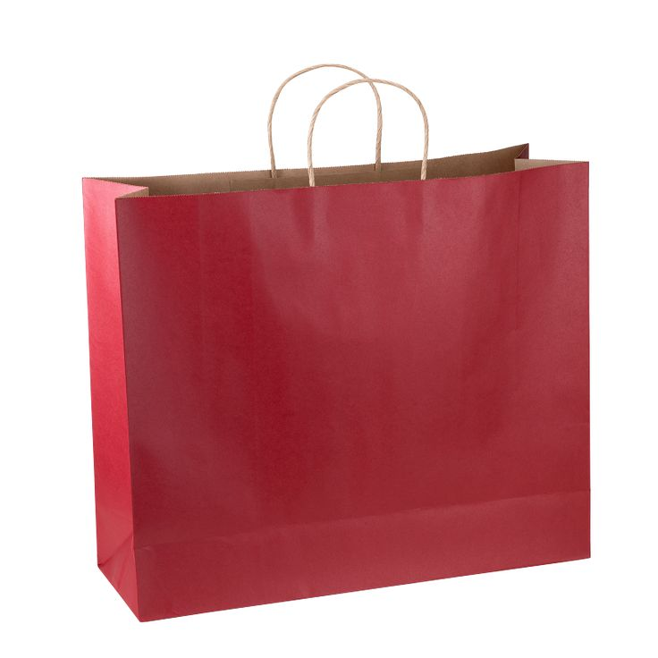 Paper Bag Super Large Wide 435w x 145d x 410h Red pack 100 - Surestyle Limited