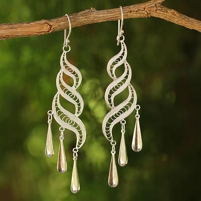 Sterling Silver Chandelier Earrings - Sterling Allure | NOVICA
