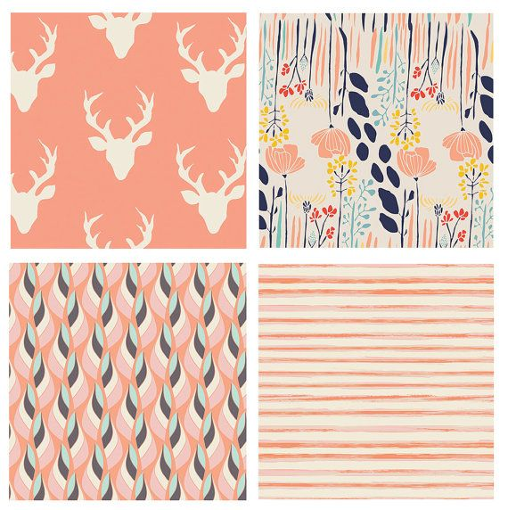 BUNDLE - Hello Bear - Meadow - Art Gallery Fabrics - Bonnie Christine - Leah Duncan - Deer Heads Antlers Peach Coral Navy