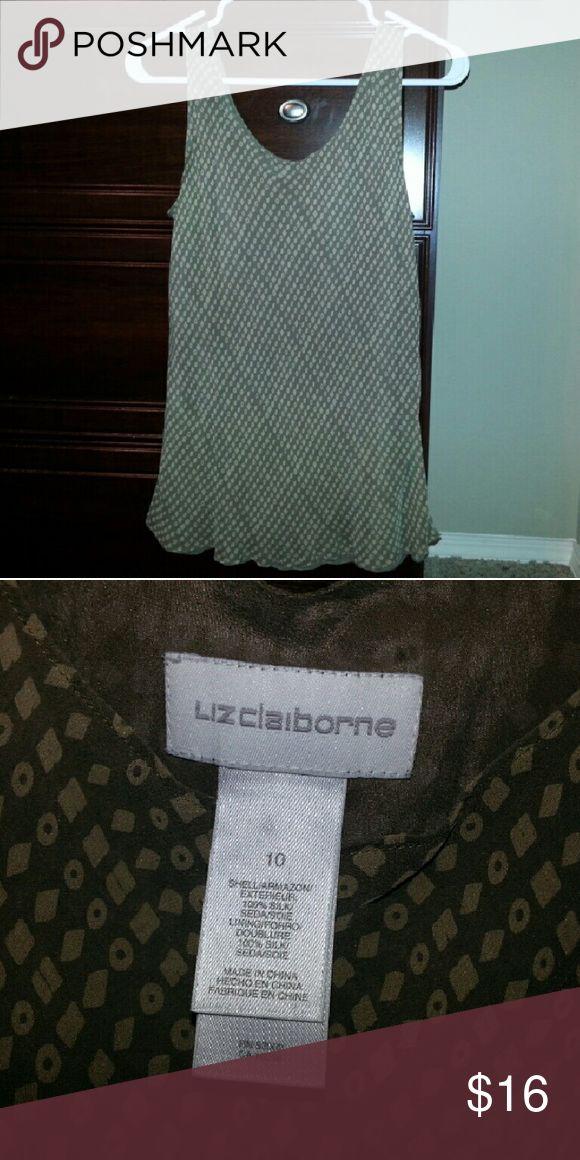 Liz Claiborne brown patterned tank sz 10 Liz Claiborne brown patterned tank sz 10 Liz Claiborne Tops